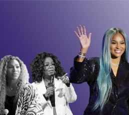 Serena Williams, Oprah and Ciara on a purple background.