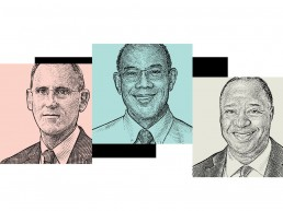 Back and white etching type drawings of 3 headshots. From left, Michael Garland, a New York City assistant comptroller; John W. Rogers Jr., founder of Ariel Investments; and Dale Jones, CEO of Diversified Search Group.