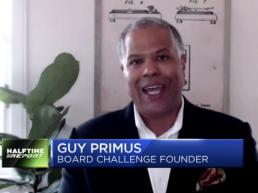 Guy Primus interview on CNBC, still shot.
