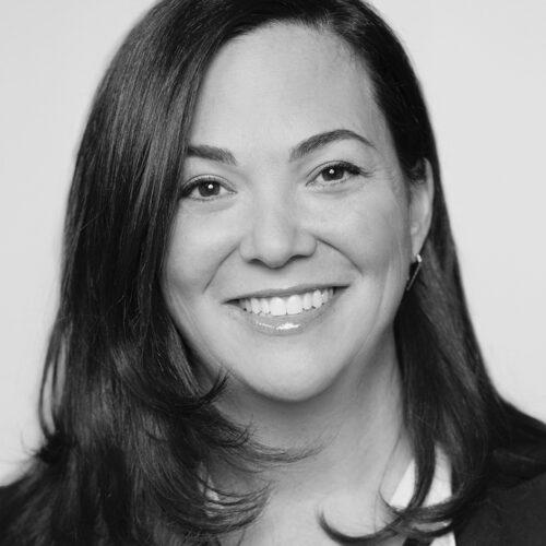 Headshot of Jennifer Tejada, in black and white.
