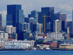 The Seattle downtown skyline, as seen from the Puget Sound. (GeekWire Photo / Nat Levy)