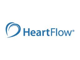 HearFlow logo, Blue lettering on white ground.